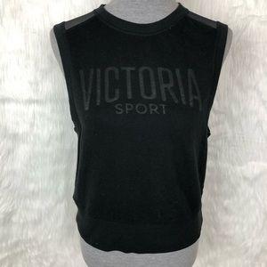 Victoria's Secret Black Open Back Workout Tank Top